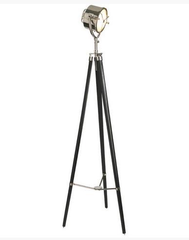 Scheeps/spotlamp nickel plated zwart Afm. H.199.9 x Diam. voet 67.1 cm.-0