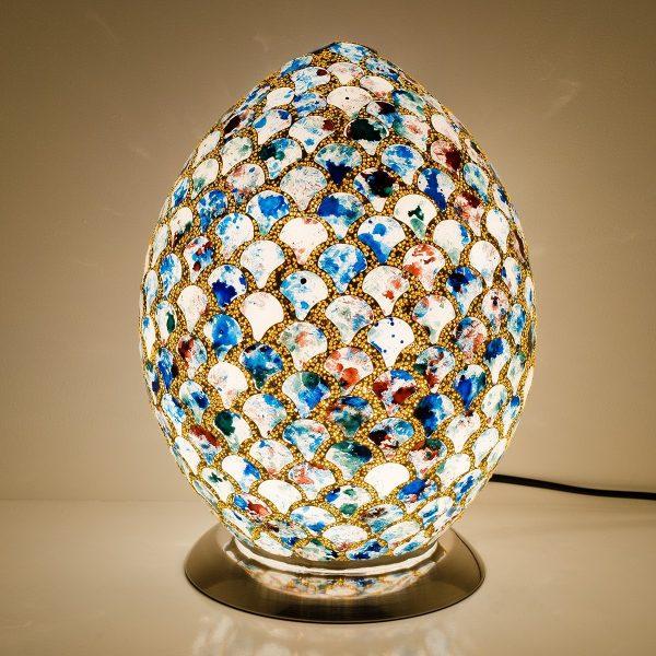 Mozaiek ei-lamp blauw/goud afm. H.30 cm diameter 22cm-0