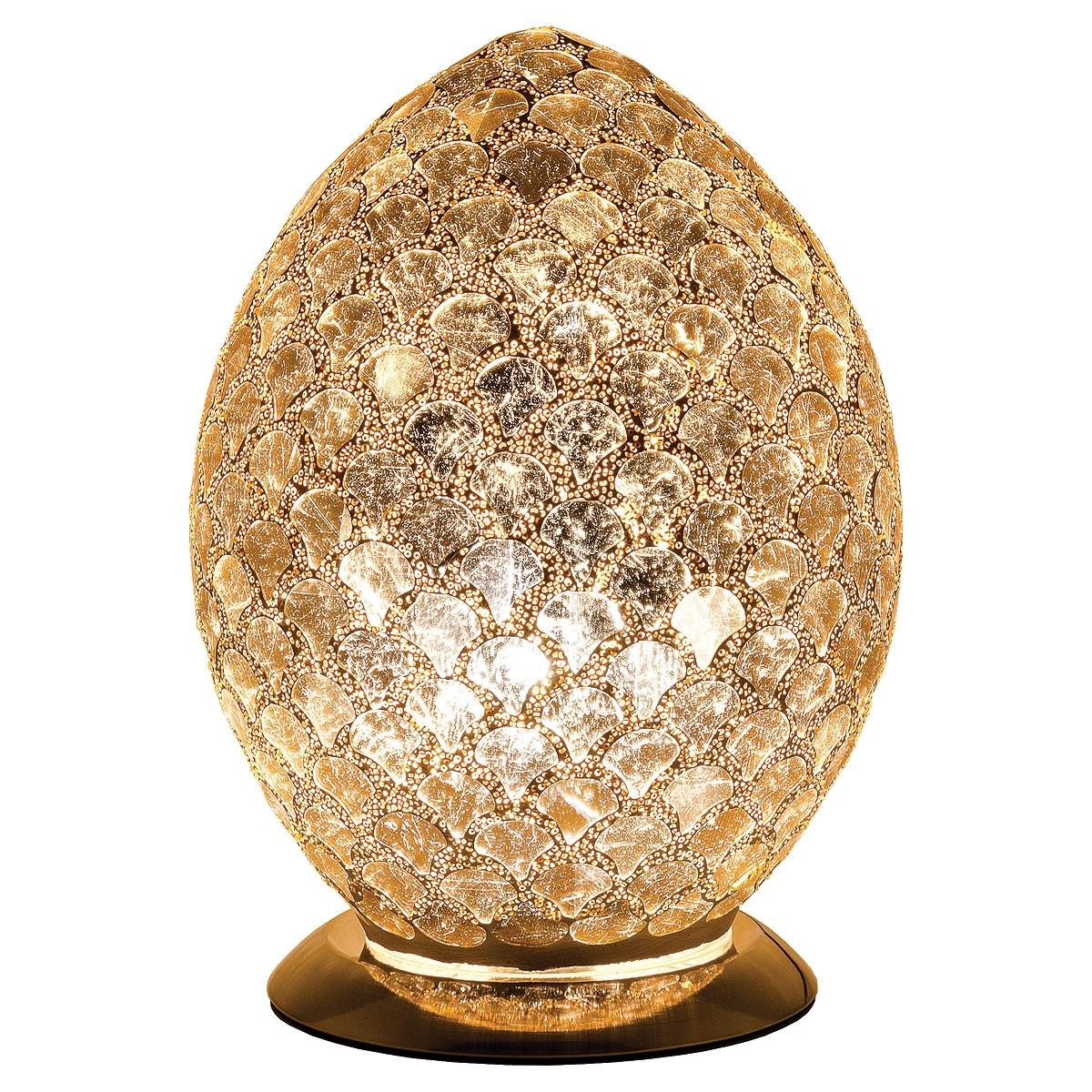 Mozaiek ei-lamp geel/goud afm. H.30 cm diameter 22cm-0