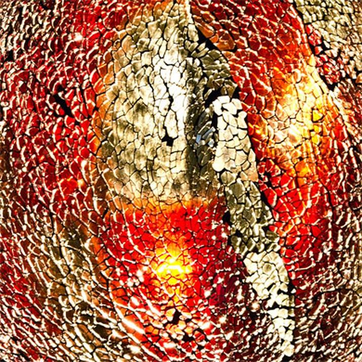 Mozaiek ei-lamp rood/goud afm. H.30 cm diameter 22cm-7001