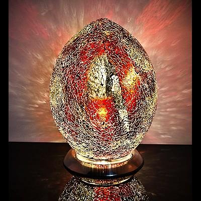 Mozaiek ei-lamp rood/goud afm. H.30 cm diameter 22cm-0
