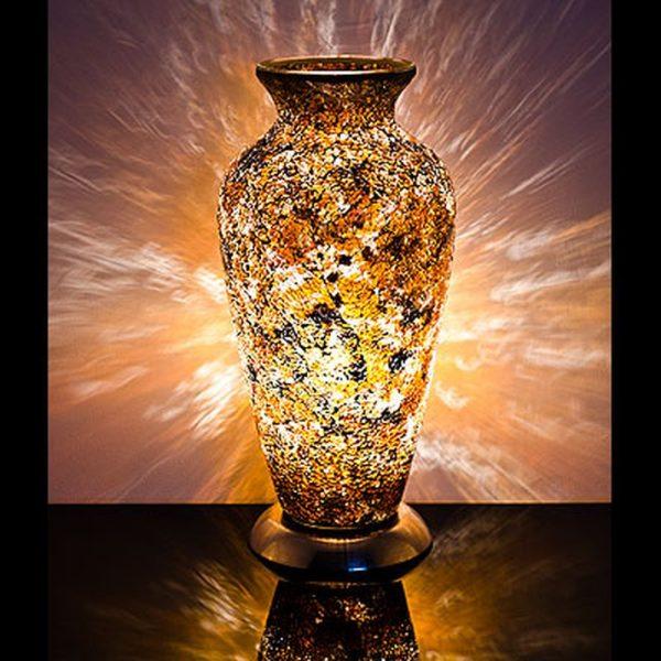 Mozaiek vaaslamp kleur geel/zwart afm. H.38 cm Diameter 18 cm-0