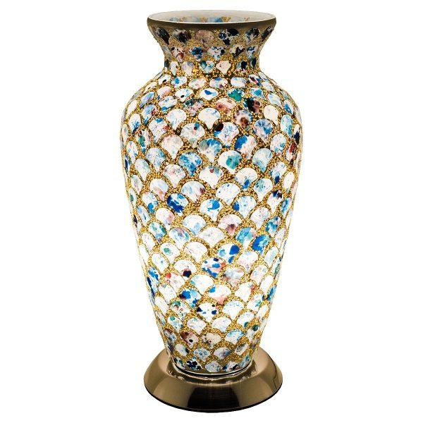 Mozaiek vaaslamp kleur goud/blauw afm. H.38 cm Diameter 18 cm-0