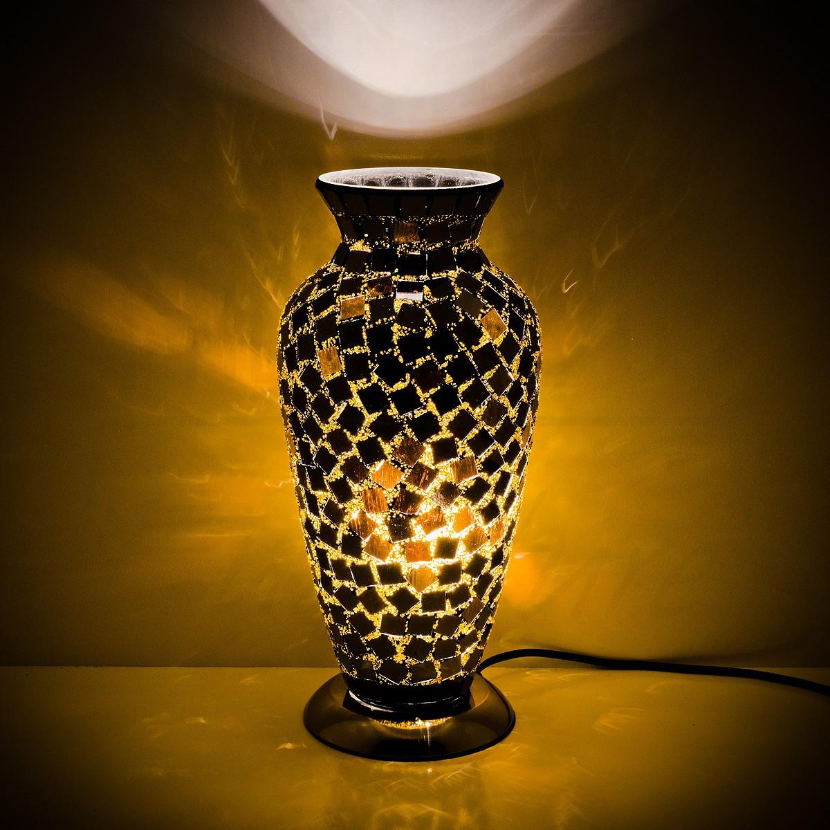 Mozaiek vaaslamp zwart afm. H. 38 cm diameter 18 cm-6986