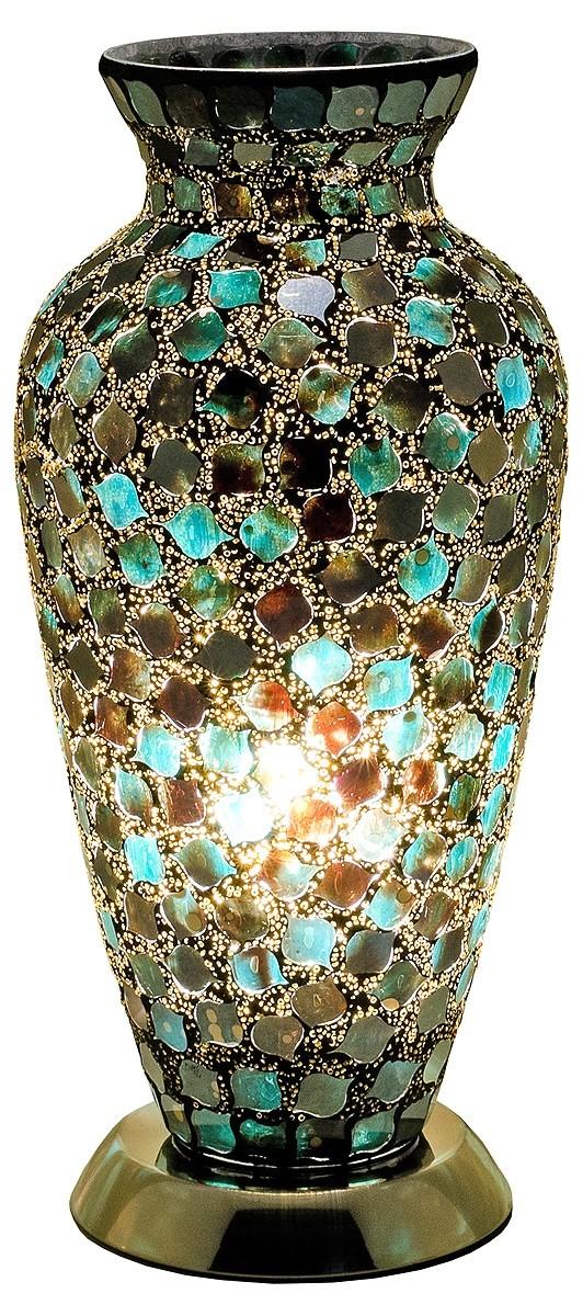 Mozaiek vaaslamp zwart/blauw afm. H. 38 cm diameter 18 cm-0