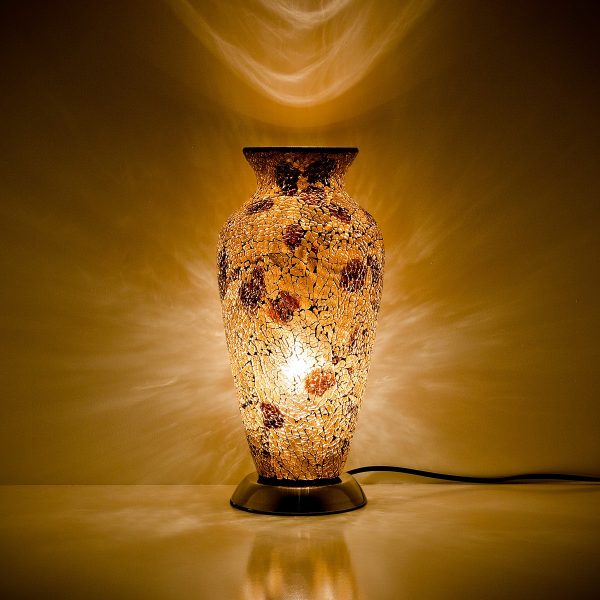 Mozaiek vaaslamp geel/bruin afm. H. 38 cm diameter 18 cm-0