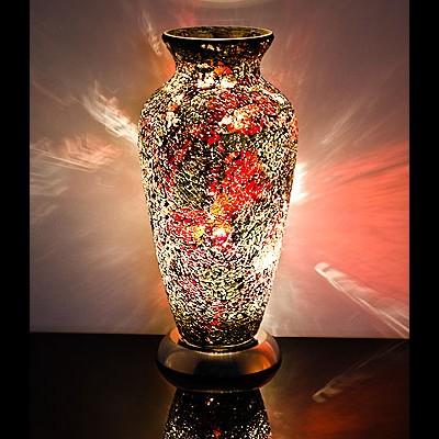 Mozaiek vaaslamp goud/rood afm. H. 38 cm diameter 18 cm-0