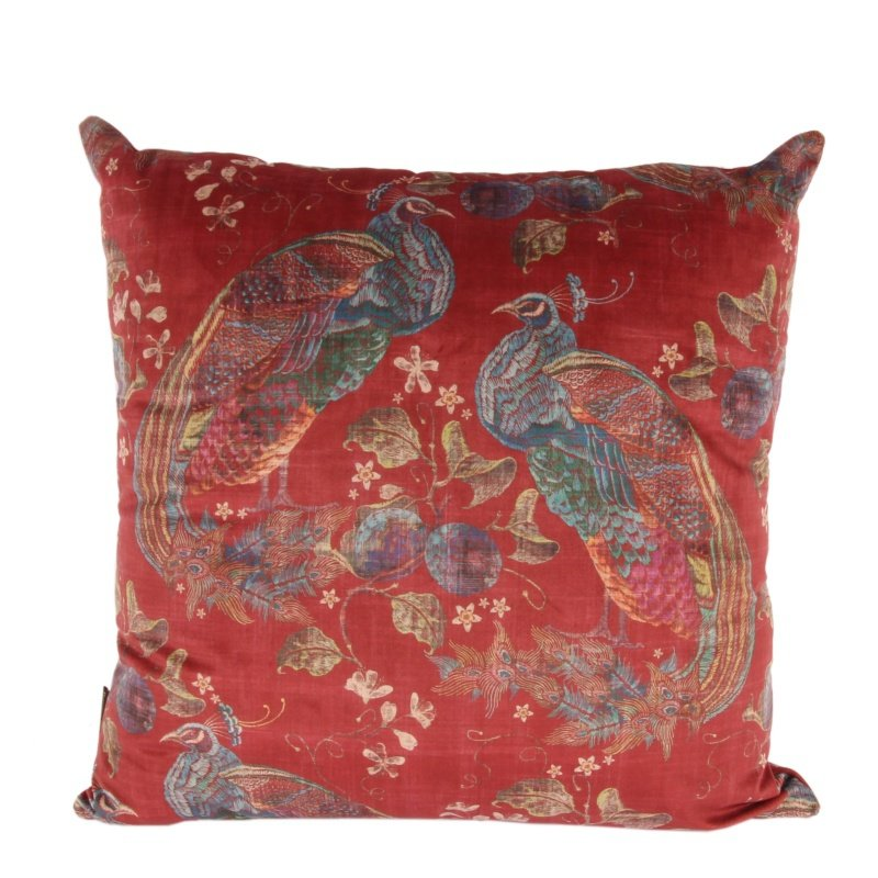 Kussen Luxury rood peacock print color mixed afm.50x50cm-0