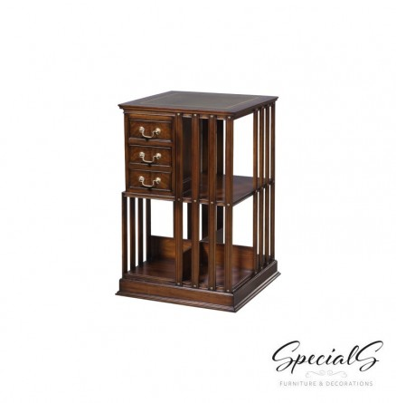 EM-AGREEN or BROWN leather Bookcase, Revolving Dimensions: h 80 x w 49 x d 49 cm-0