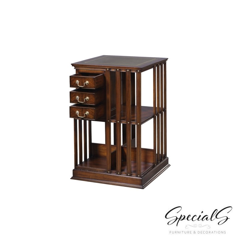 EM-AGREEN or BROWN leather Bookcase, Revolving Dimensions: h 80 x w 49 x d 49 cm-7367