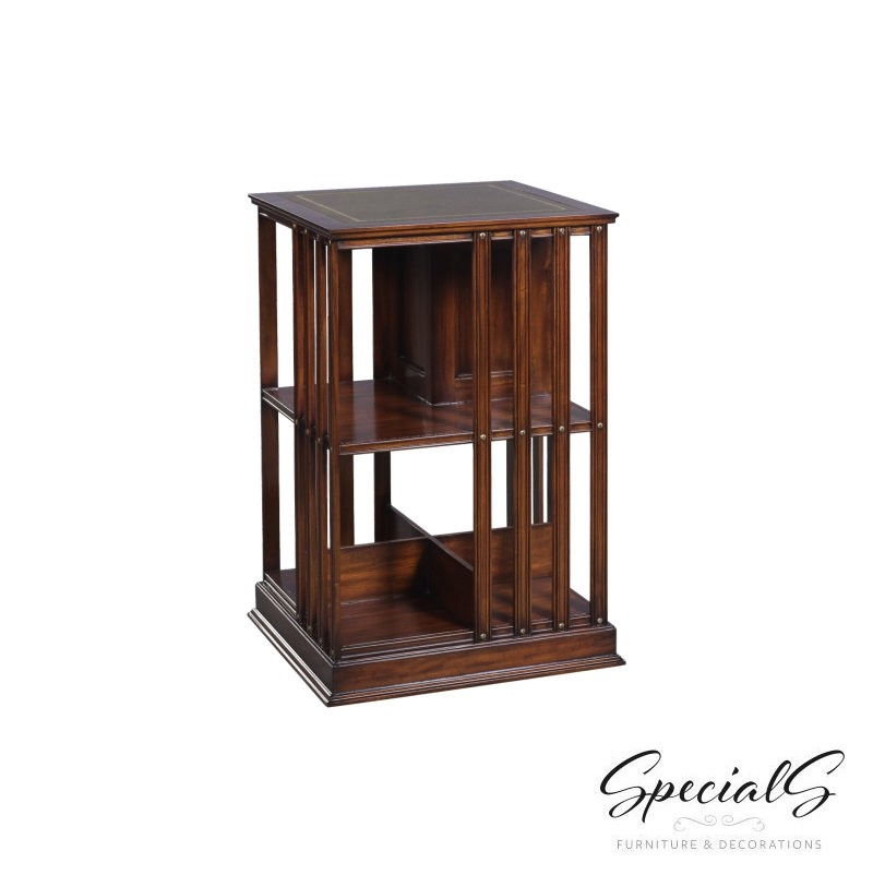 EM-AGREEN or BROWN leather Bookcase, Revolving Dimensions: h 80 x w 49 x d 49 cm-7368