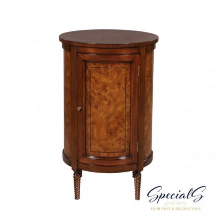 33032-BS-EM Round Central Cabinet-Burl Dimensions: h 82 x w 57 x d 57 cm -0