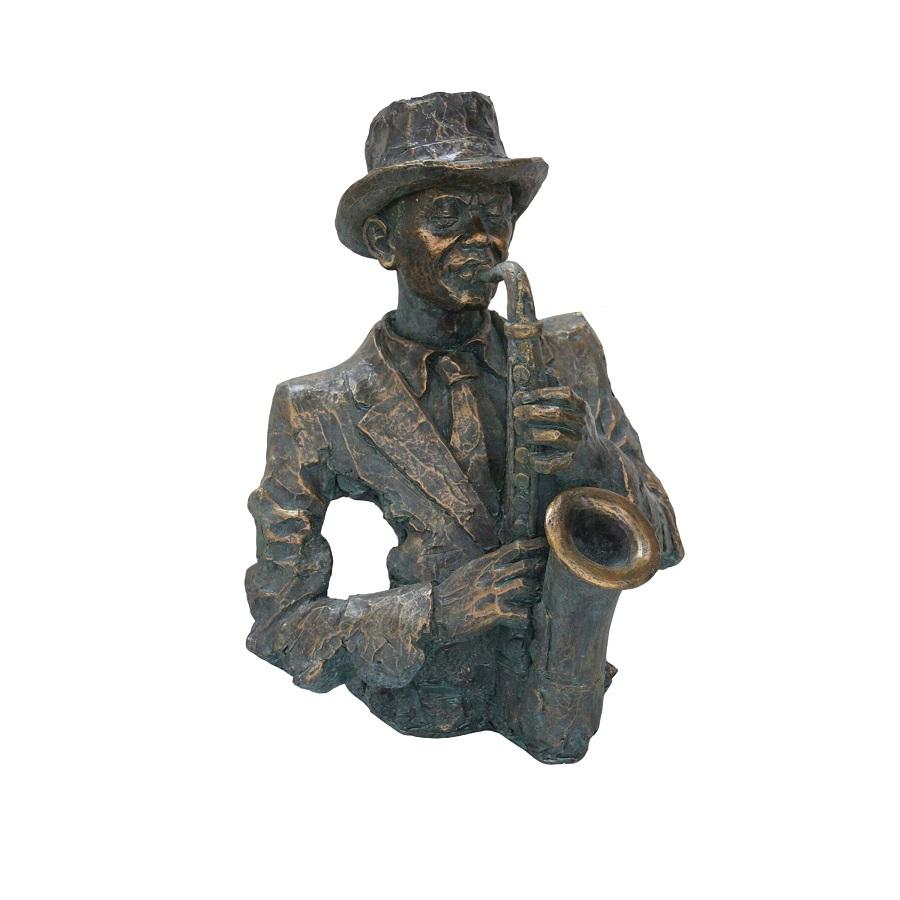 Bronzen Saxofonist Borst afm. 50x45x63h-0