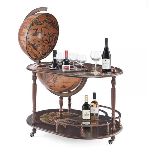 "Drankbol/kar: Elegante kast bar met ovale houten top ""Artemide""-0"